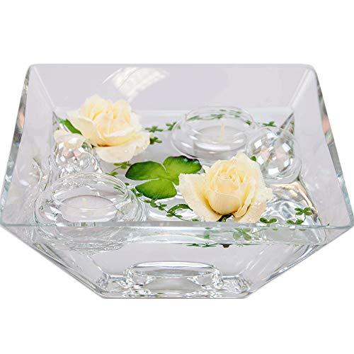 Eckige Glas-Schale Teelicht H.7,5cm Länge x Breite 20cm. Flache Dekoschale eckig mit Dekorations Set Rose Creme/weiß Dekoglas mit ausgefallener Deko für Ihre Deko Ideen.