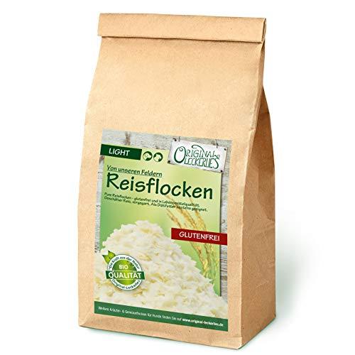 Original-Leckerlies: Reisflocken, 1kg ballaststoffreiche Hundeflocken glutenfrei und fettarm, Hundefutter- Naturprodukt für Hunde, barfen