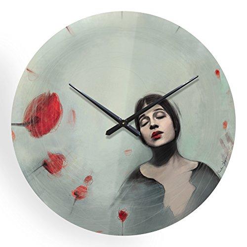 icreo Horloge murale D80 coquelicots diamètre 80 cm en polycarbonate épaisseur 6 mm effet verre