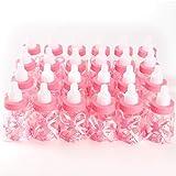 Surepromise 24er Milchflasche Babyflasche Schleife Baby Taufe Geburt Babyshower Party Tischdeko Gastgeschenke Rosa Mädchen