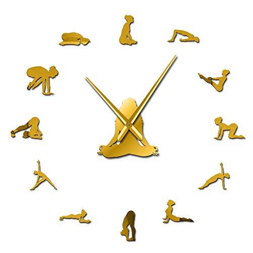 Yoga Poses DIY Reloj de Pared Gigante Encuentra tu Equilibrio Meditación Arte de Pared Decoración para el hogar Reloj de Pared Grande y Moderno Reloj Mindfulness Gift Gold 47 Pulgadas (120cm)