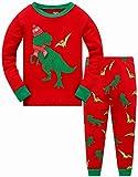 Boys Christmas Pajamas T-Rex Dinosaur Pjs 100% Cotton Kids Xmas Clothes Set Long Sleeve Sleepwear 6t
