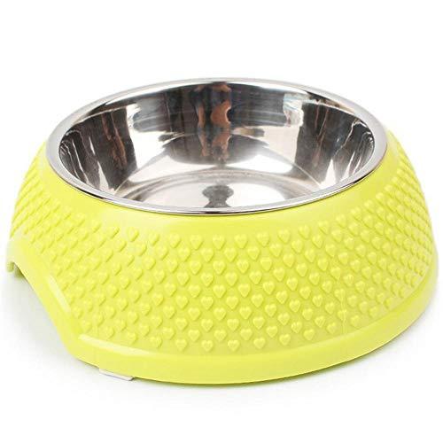 wdonddon Comederos Gato Viaje del Acero Inoxidable Alimentación Alimentador de Agua de la Taza de Platos de Las Mascotas Gatos Perros del Perro de Perrito al Aire Libre de Comida (Color : Yellow)