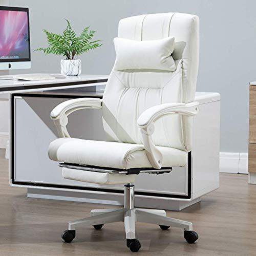 Sedia per Computer di Casa Comoda Sedia Boss, Sedia Girevole Sollevabile Sedia con Schienale per Pausa Pranzo, Sedia da Ufficio Semplice (Colore: Bianco) Tdff