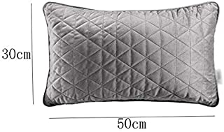 Pillow Quilted Velvet Thickening Living Room Solid Color Simple Lumbar Pillow Multi-Color Pillow, Two Sizes (Color : Gray, Size : 30x50cm)