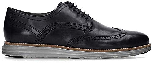 Cole Haan Men's Original Grand Shortwing Oxford Shoe, Black Leather/Ironstone, 10 Medium US