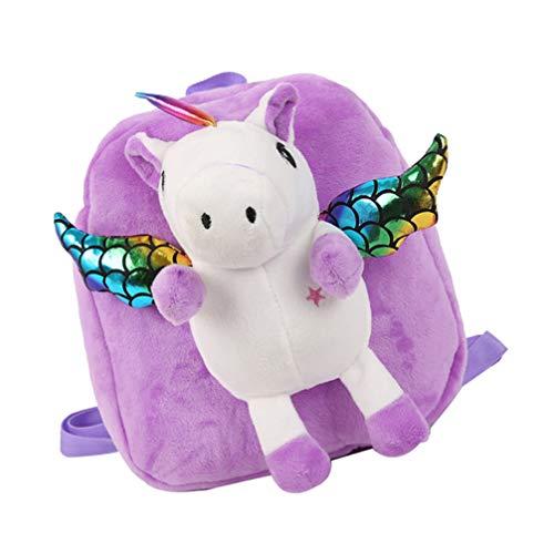 VALICLUD Einhorn Kleinkind Rucksack 3D Einhorn Schule Tasche für Mädchen Kinder Plüsch Rucksack Mit Pailletten Flügel (Rot)