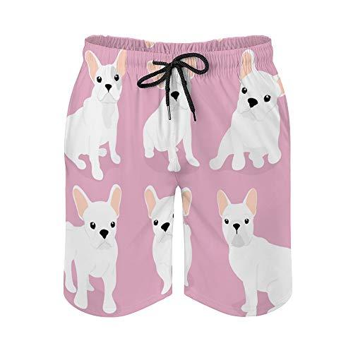 MayBlosom Pantalones cortos de playa para hombre, juego de lindos trajes de baño de secado rápido con niebla francesa, traje de baño casual hawaiano para fiestas de fiesta con elástico