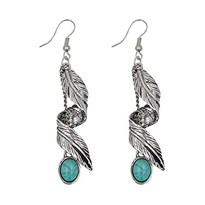Ginasy Bohemia Spiral Drop Earrings Teardrop Imitation Turquoise Plated Alloy Dangle Earrings (Leaf 4)