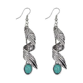Ginasy Bohemia Spiral Drop Earrings Teardrop Imitation Turquoise Plated Alloy Dangle Earrings  Leaf 4