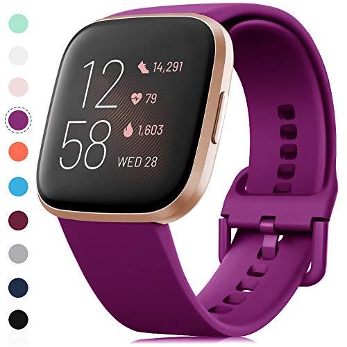 RIOROO Correa Compatible para Fitbit Versa Pulsera/Versa 2 Correa/Versa Lite Correas/Blaze Pulseras,Silicona Banda de Reloj para Hombres Mujeres, Deportivo Recambio de Pulsera Uvas moradas,S