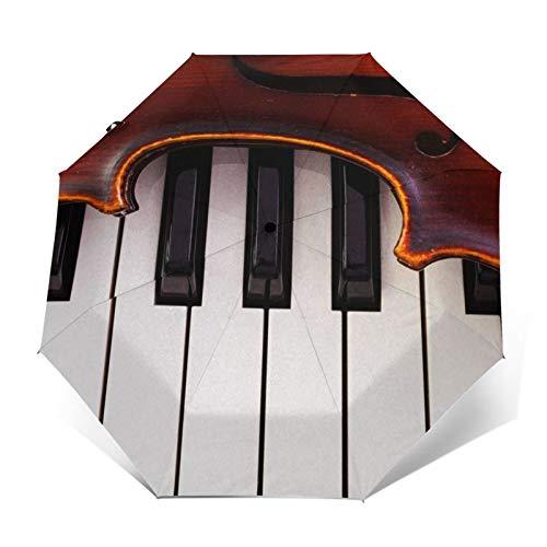 Regenschirm Taschenschirm Kompakter Falt-Regenschirm, Winddichter, Auf-Zu-Automatik, Verstärktes Dach, Ergonomischer Griff, Schirm-Tasche, Geigen Klavierinstrumente
