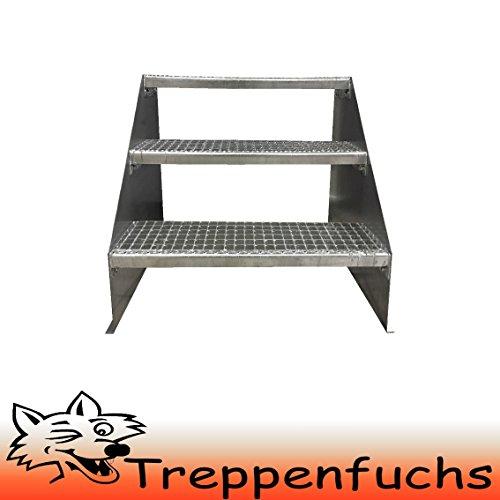 3 Stufen Standtreppe Stahltreppe freistehend Breite 80cm Höhe 63cm Verzinkt/ Robuste Außentreppe / Stabile Industrietreppe für den Außenbereich