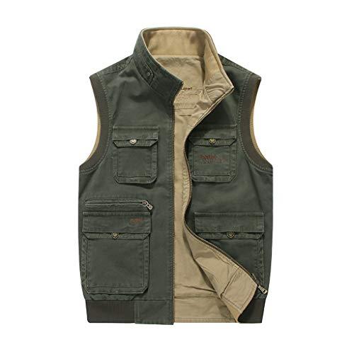 Weste Outdoor Herren Weste doppelseitige Mode Weste schnell trocknende Weste (Farbe : Armeegrün, größe : M)