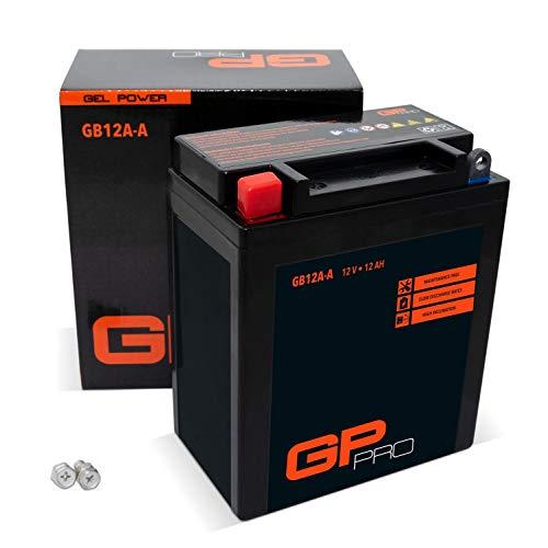 GP-PRO GB12A-A 12V 12Ah GEL-Batterie Kompatibel mit YB12A-A / 51211 Wartungsfrei & Versiegelt Akkumulator Motorrad Motorradbatterie