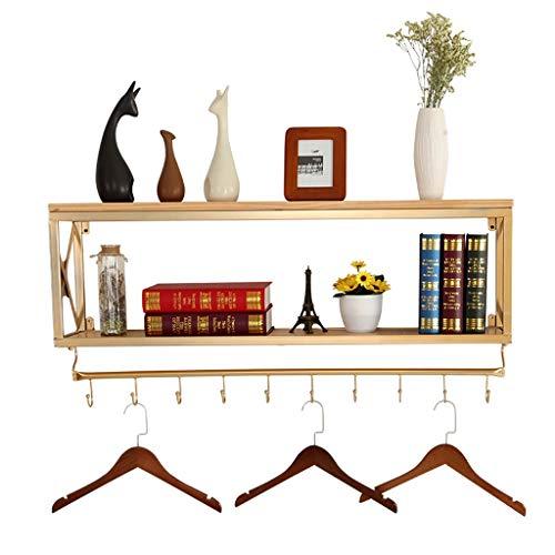 Rack support en fer forgé en métal support mural de mode étagère en bois massif support de stockage simple de cuisine de salon/support de stockage (Size : 60x20x45cm)