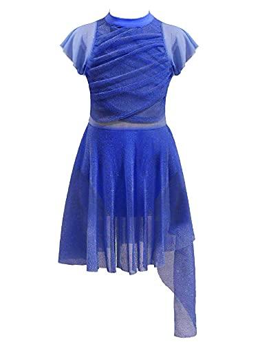 IEFIEL Maillot Patinaje Artistico para Nia Tutu Princesa Vestido Lentejuelas de Danza Ballet Disfraz de Bailarina Maillot Ballet con Falda 4-12 Aos W Azul Oscuro 6 aos