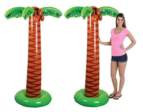 4E's Novelty Inflatable Palm Trees [Pack of 2] 5.5 ft/66 Tall - Inflatable Pool Toys for Adults & Kids. for Beach Decor, Pool Decor, Luau Birthday Party Decorations