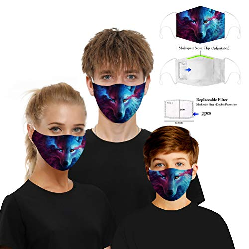 ADESUGATA 1pcs Removable Activated Carbon Filter 3D Printed Face Mask + 20pcs Disposable Masks Anti Pollution and Dust with elastic Earloop Cover for Women Men Child (Wolf)
