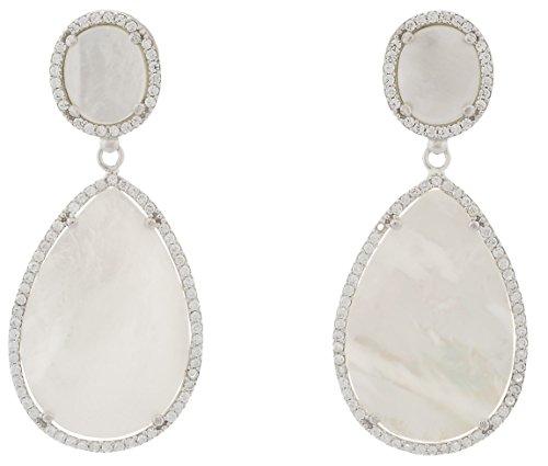 Alexandra plata - Pendientes de nácar blanco natural en forma de gota y plata de ley 0925 con pavé de circonitas, dimensiones 6x2,5 cms, color blanco