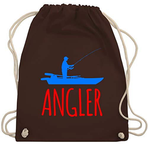 Shirtracer Angeln - Angler Boot - Angelboot - Unisize - Braun - angler turnbeutel - WM110 - Turnbeutel und Stoffbeutel aus Baumwolle