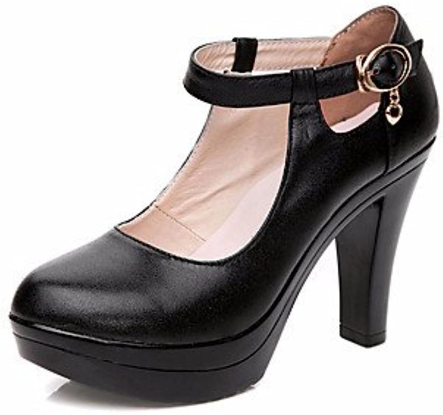 LvYuan-GGX Damen Damen Damen High Heels Formale Schuhe Leder Frühling Herbst Normal Formale Schuhe Blockabsatz Schwarz 12 cm & Mehr, schwarz, us3.5   eu33   uk1.5   cn32  522155
