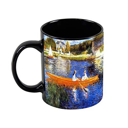 Taza de café de cerámica negra con diseño de barco en el río Sena Renoir de 325 ml de cerámica única taza de café y té regalo de Navidad para ella y amigo