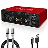 USB Audio Interface with XLR cable Audio Interface with Mic Preamplifier Audio mixer recorder with 48V Phantom Power, 24 Bit, Support Computer and Equipment Recording ((NO Software or DAW included))