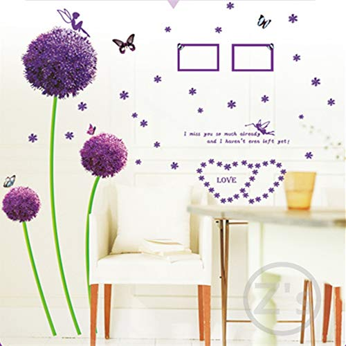 Sticker 120 * 115 Cm Flowers Purple Dandelion Butterflies Wall Sticker Home Decoration Adhesives Mural