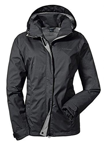 Schöffel Jacket Easy L3, wasser- und winddichte Outdoorjacke für Frauen, leichte und flexible Damen Regenjacke für jedes Wetter Damen, black, 42
