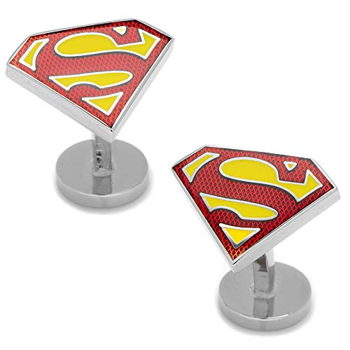 Boutons de manchette DC Comics texturé Superman Shield, sous licence officielle
