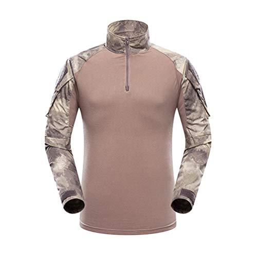 YuanDian Homme Tactique Militaire Camouflage Chasse Uniforme Ensemble Manches Longues Airsoft Combat T Shirt + Treillis Armée Pantalon Randonnée Outdoor Vêtements Gobi Désert Shirt XL