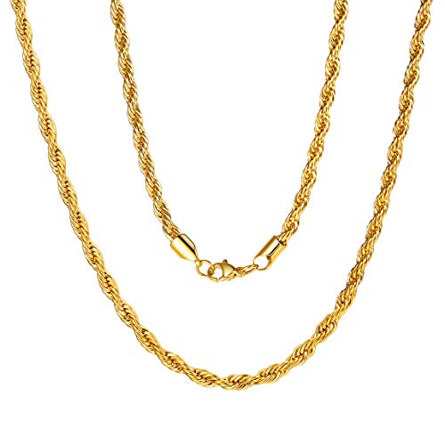 Mens Gold Rope Chain Male Chain Titanum 20inch 3mm Gold Chain Boys