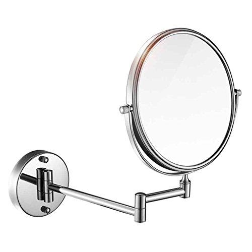 Miroirs Salle de Bains de poinçonnage Gratuit Hôtel Mural télescopique étirement Pliant Salle de Bain loupe 6/8 Pouces (Couleur : Fine Copper, Taille : Diameter 15cm)