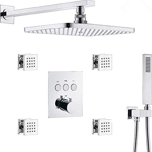 AYIVG Thermostatic Brass Rectangular 12 x 8 Inch Rainfall Shower System With 4 PCS Body Jets Mixer Set (Chrome)