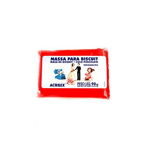 Massa Para Biscuit, Acrilex, 90 Gramas, Vermelho