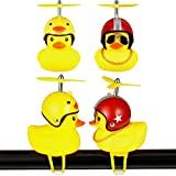 2 Pieces Duck Bike Bell Rubber Duck Bicycle Accessories Cartoon Duck Head Light Duck Bicycle Bell with LED Light Duck Helmet Toys for Kids Adults