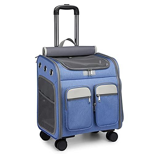 Mochila de Viaje para Mascotas Transpirable y Plegable, para Viajes al Aire Libre, Maleta para Mascotas,Azul