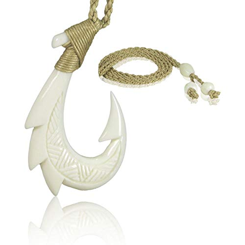 KanaKala Pacific Hawaiian Hand Carved Bone Fish Hook Necklace