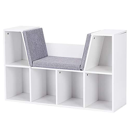 Goplus Bücherregal Weiß, Bücherschrank mit Sitzbank, Standregal aus Holz, Aufbewahrungsregal...
