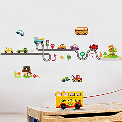 WE-WIN Mignon Cartoon Ville Voiture Stickers Muraux Amovible DIY Enfants Chambre Wall Decal