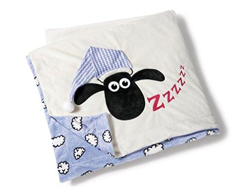 Nici 41474 Shaun Das Schaf Plüschdecke mit Schlafmütze, 175 x 140 cm, Farbe: Vorderseite Rückseite Blau Mit Weißen Wolken