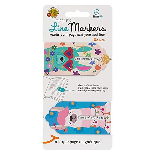 Linemarker Page Marker, Book Holder, Magnetic Bookmarks Set of 2, Magnet Page Holder Clip for Reading (Llama)