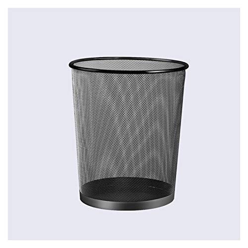 Bote de basura Malla redonda de papelería de reciclaje Papelera de reciclaje de hierro forjado Basura hueca de canal de cabina sin cubierta Cesta de residuos for oficina Cuarto de baño Sala de estar B