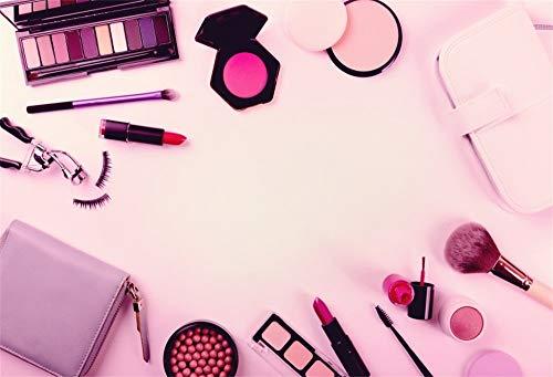 MMPTn 5x3ft Mädchen Damen Rosa Porträt Fotografie Hintergrund Tuch Make-up Kosmetik Set...