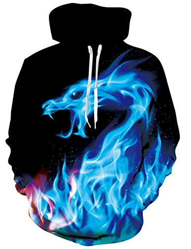 ALISISTER Mens Pullover Hoodie Unisex 3D Print Smoke Dragon Fleece Hooded Sweatshirt Crewneck for Women with Kangaroo Pocket Drawstring Funny 90S Ice Fire Tops Long Sleeve Spring Clothes M