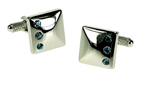 Couleur Argent boutons de manchette avec 3 Aqua cristaux boutons de manchette en boîte cadeau – livrés Londres ck467