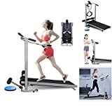 sakd Folding Treadmill, Non-Electric Walking & Running Treadmill with Incline for Home, Gym, Apartment, Under Desk Treadmill, Sit-ups Pannel, T-wisting, Twist Board, 4-in-1 Mechanical Treadmill