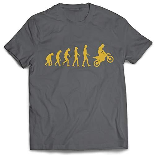 lepni.me Camisetas Hombre Evolución del Motocross Equipo de Moto Ropa de Carreras Todoterreno (XXX-Large Grafito Oro)