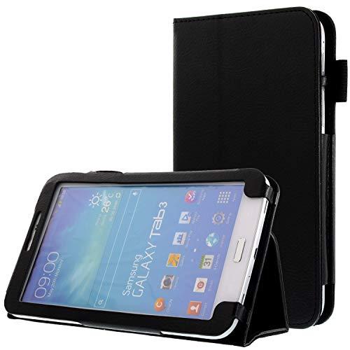 subtel® Smart Case kompatibel mit Samsung Galaxy Tab 3 7.0 (SM-T210 / SM-T211 / SM-T215) Kunstleder Schutzhülle Tasche Flip Cover Case Etui schwarz